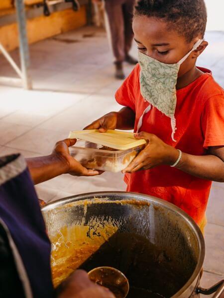 Child receiving food