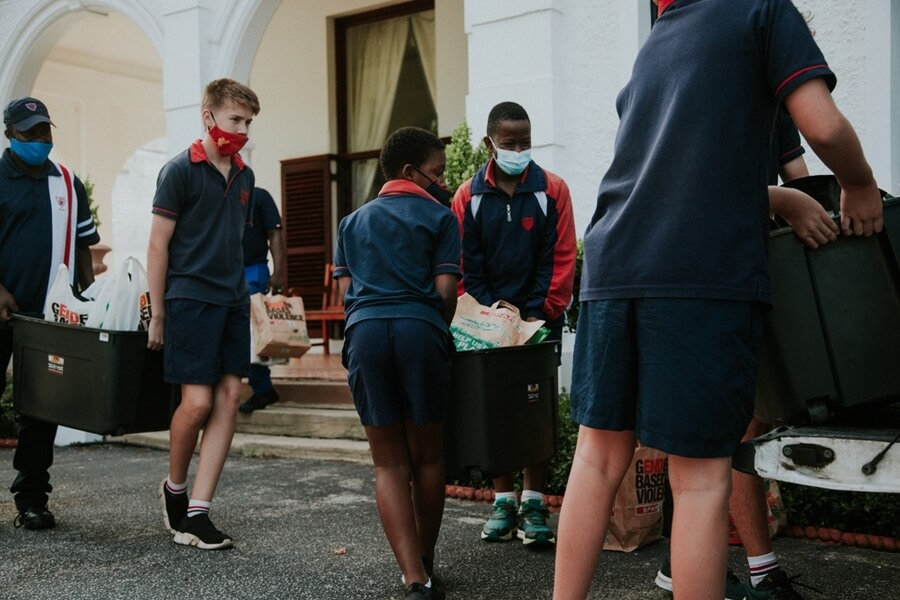 Learners helping with Donations